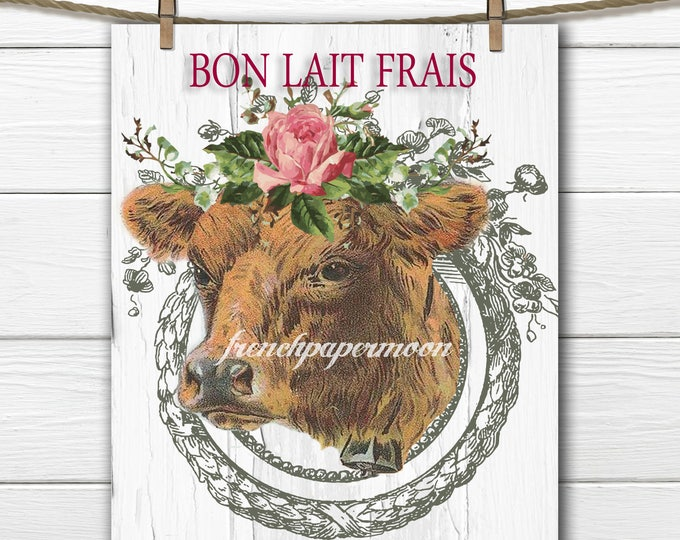 Shabby French Digital Cow, Printable Cow Art, Farmhouse, French Dairy, Farm Pillow Image, Large Size