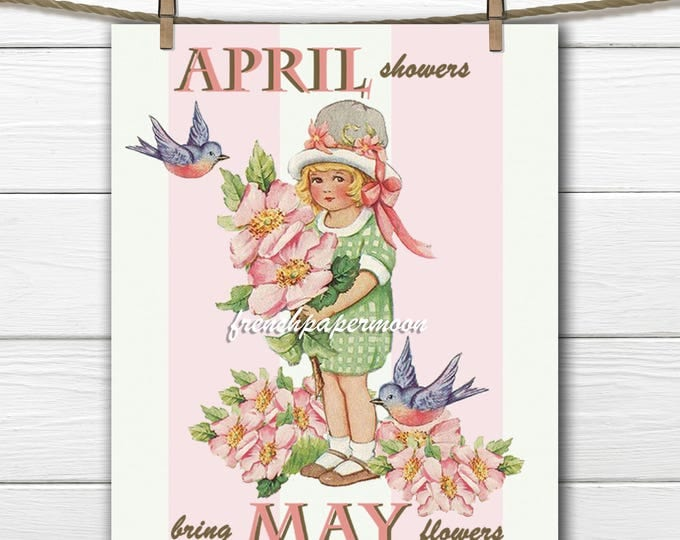 Shabby Vintage Spring Girl, Flowers, Birds, April Showers, May Flowers, Digital Large Image Graphic Transfer