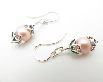 Freshwater Pearl Handmade Sterling Silver Earrings