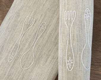 Fabric Placemats Embroidered Placemats Set 2 Hand Embroidery  Fork and Spoon