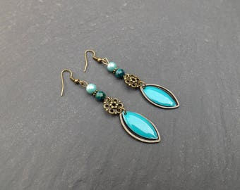 "Earrings ""baddia"" metal sequin, brass, Czech glass, chrysocolla"