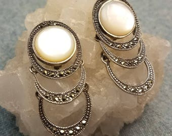 Mother Of Pearl Marcasite and Sterling Clip On Edwardian Inspired Dangle Earrings