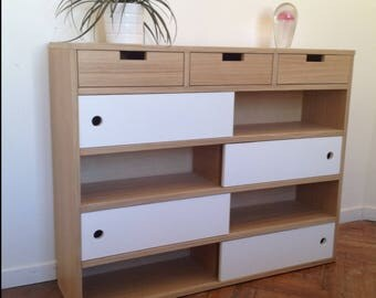 Cabinet console with 3 drawers and 4 shelves with white doors
