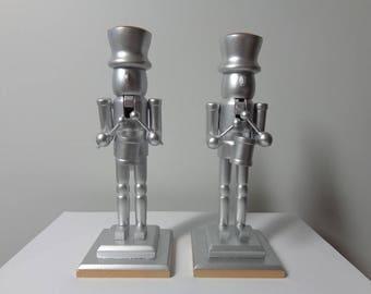 Wooden Candle Holder, Silver Candlesticks, Wooden Candle Holder Modern Candle  Customize Set,  Wooden Candle Holder Centerpiece, Set of  2