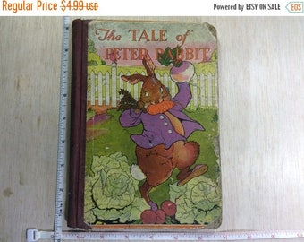 10% OFF 3 day sale Vintage Old Antique Children's Book The Tale Of Peter Rabbit Abused By Child Used
