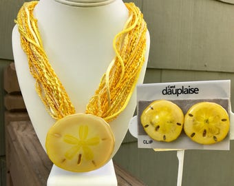 Carol Dauplaise Yellow Sand Dollar Necklace & Clip Earrings, 1980s vintage