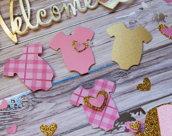 Pink and Gold Baby Shower Table Decor - Baby Shower Confetti - Baby Shower Table Scraps - Onesie Confetti - Confetti - Gold Baby Shower