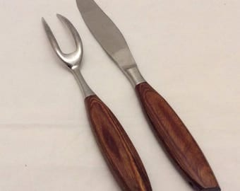 KGG rosewood stainless carving set vintage rostfrei