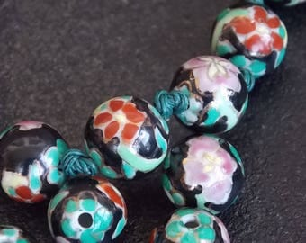 Glass Beads Floral Pink Green and Black Glass Beads, 3/8 inch diameter, Set of 30