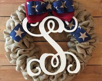 Front Door Wreath | Patriotic Burlap Wreath | Red Blue Star Wreath | Americana Wreath | Farmhouse Wreath | Rustic Wreath