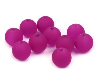150 plastic beads, neon purple, 10mm