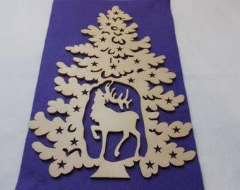 1 fir tree, wood, 20 x 27 cm (24-0019B)