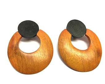 Vintage handmade natural wood clip on earrings