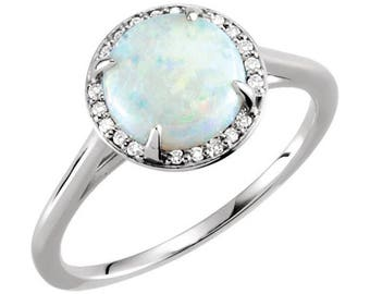 14k White, Yellow or Rose Gold 8mm Round Genuine White Australian Opal & .05 CTW Diamond Halo Ring