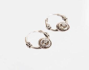 925 Sterling Silver Hoop Earrings | Tiny Minimalist Bali Hoops | Silver Boho Gem Hoops | Sparkle Hoop Earrings | Silver Bohemian Hoops