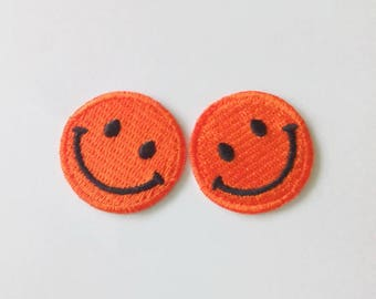 "Set of 2 Pieces Orange/Black Smiling Smiley Face Iron on Patch (1"" wide)"