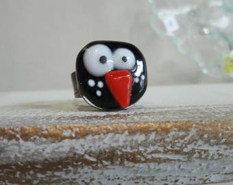 Glass fusing black hen, support copper, Adjustable ring