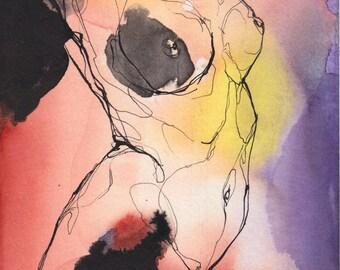 Aura #3- Original ink & watercolor drawing