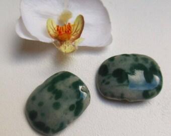 set of 2 rectangular ceramic beads