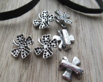 set of 6 silver plated clover charms