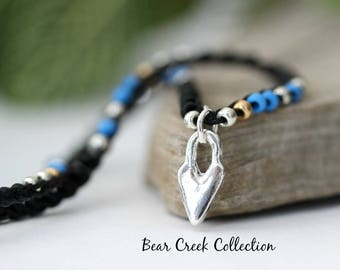 Seed Bead Choker, Necklace, Sterling Silver, Primitive Heart Charm, Black, Blue, Silver Gold Glass, Crochet Boho Jewelry, Gift for Her