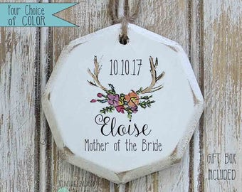 personalized floral antlers Mother of the Bride ornament, bridal party gift, boho wedding party gift, wedding party ornament, MOB gift