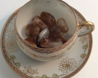 Vintage Tiny Tea Cup holding Healing Stones,Spiritual Stone, Healing Stone, Healing Crystal
