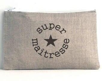 "Linen pouch natural inscription ""super teacher"""