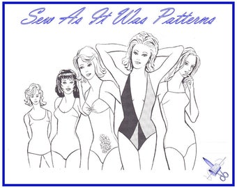 """1970s New Bevknits 5004 One Piece Swim Suits Swimsuits Vintage Master Sewing Pattern Stretch Lycra Sizes 8 – 18 Bust 30 - 42"""" 80 - 107cm"""
