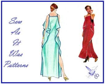"1970s FF UC Vogue French Boutique 1674 Renata Evening Dress Straps Flounce Flutter Side Seams Vintage Sewing Pattern Size 12 Bust 34"" 87cm"