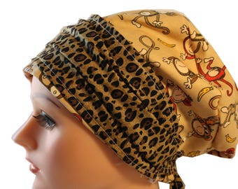 Scrub Hat Cap Chemo Bad Hair Day Hat  European BOHO Banded Pixie Tie Back Monkeys Animal Print Band 2nd Item Ships FREE