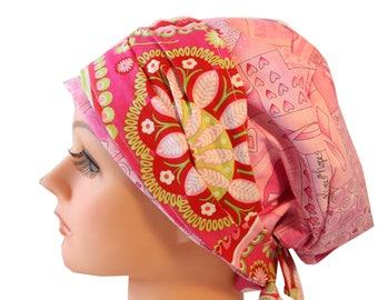 Scrub Hat Cap Chemo Bad Hair Day Hat  European BOHO Banded Pixie w/Ties Pink Ribbon Cancer Awareness Bright Paisley Band 2nd ships FREE