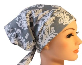 Scrub Hat Cap Chemo Bad Hair Day Hat  European BOHO Grey and White Damask 2nd Item Ships FREE