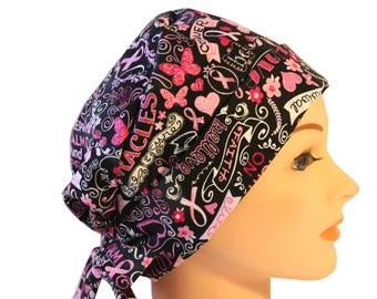 Scrub Hat Medical Surgical  Cap Chemo Chef Nurse Doctor Hat Tie Back Front Fold Pixie Black Pink Ribbon 2nd Item Ships FREE