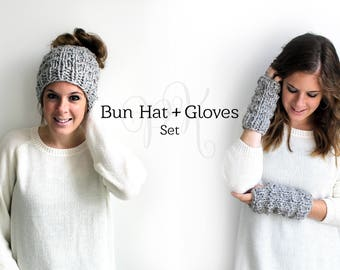 Bun Hat with Gloves, Hat and Gloves Knit, Messy Bun Hat, Matching Set