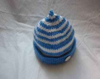 Baby Hat knit 100% handmade in France striped blue and white 'sailor' wool with Navy button all sizes available