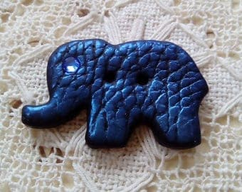 Blue polymer clay elephant button, handmade button, unique button, textured button, scrapbooking, sew, knitting, card making, animal button