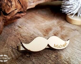 Moustache Wooden Tie Clips Mustache Mustachio Mustachios Dad Grooms Bestman Groomsman Wedding Birthday Personalized Gift Tie Bar