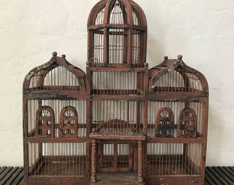 Primitive Giant Folk Art Bird Cage,Handcrafted