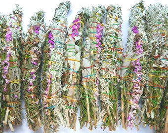 Sage, lavender, and rosemary smudge stick