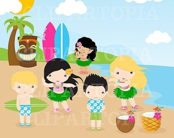 50% OFF SALE Luau Clipart / Hawaii Clipart / Hula Girl ClipArt / Aloha Clipart/ Tiki Clipart / Digital Clipart Personal  and Commercial  Use