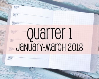 Traveler's Notebook B6 Size Week on One Page with Grid {Q1 | January-March 2018} #800-21
