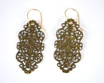 Lightweight Repurposed Antique Bronze Open Work Metal Drop Earrings