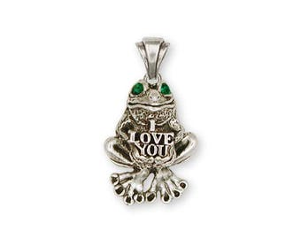 Frog Pendant Jewelry Sterling Silver Handmade Frog Pendant FG13-XP