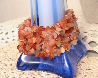 Bracelet, Stretch bracelet, Vintage Small Polished Carnelian Stones, Agates, Orange Coral Bracelet