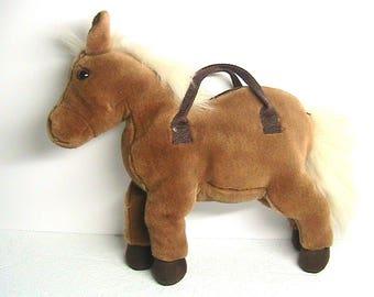 Horse, Stuffed Animal Horse Purse, Vintage Brown Stuffed Horse Purse