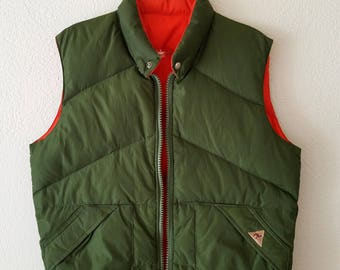 Camel Cigarettes Reversible Vest Jacket Green Orange Sleeveless Bomber Jacket Puffy Puffer