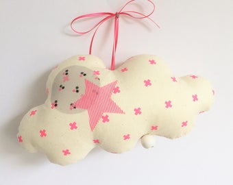 Musical Mobile cloud XOXO neon pink - Vanilla cotton gauze - music box - a star in my cabin