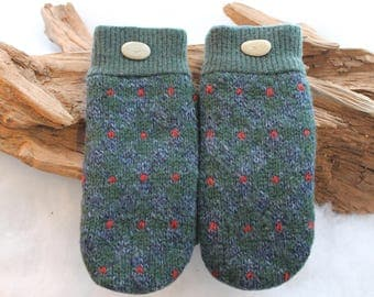 Wool sweater mittens lined with fleece with Lake Superior rock buttons in green, blue, and red, Christmas gift, coworker gift, birthday