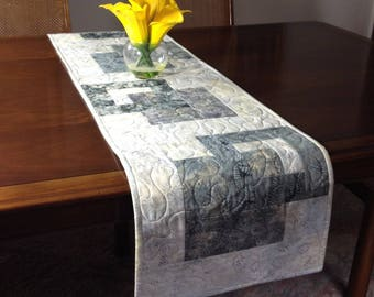 Modern Batik Table Runner, Handmade Gray Quilted Tablerunner, Grey Wallhanging, Reversible Table Quilt, Contemporary Dining Room Decor